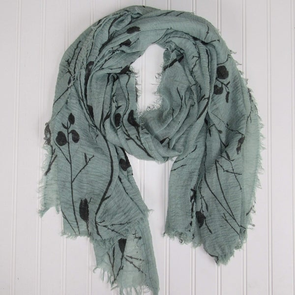 """Tickled Pink Branches & Leaves Lightweight Scarf  - 38 x 70"""",  Sage"""