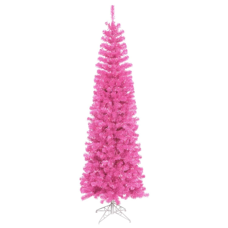 """Vickerman 6.5' x 27"""" Pre-Lit Sparkling Pink Tinsel Artifi..."""