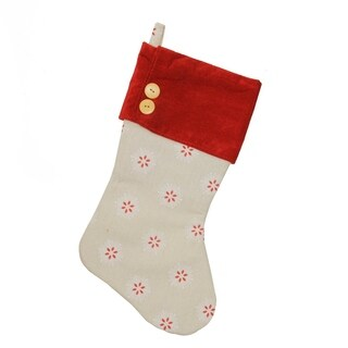 """18.75"""" Beige with Red & White Embroidered Snowflakes Christmas Stocking"""