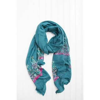 "Tickled Pink Multicolored Floral Embroidered Lightweight Scarf 28 X 70"" - Teal"