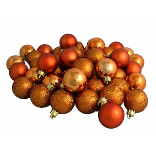 "96ct Burnt Orange 4-Finish Shatterproof Christmas Ball Ornaments 1.5"" (40mm)"