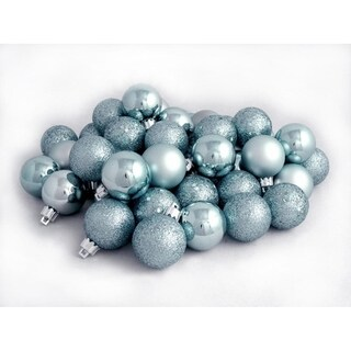 "60ct Baby Blue Shatterproof 4-Finish Christmas Ball Ornaments 2.5"" (60mm)"