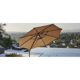 Direct Wicker 11.5-foot Offset Cantilever Patio Hanging Umbrella with Base and Crank