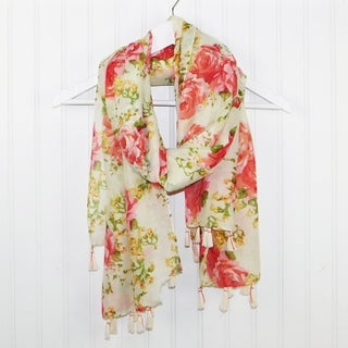 "Tickled Pink Romantic Roses lightweight Scarf - 32 x 70"", Red"