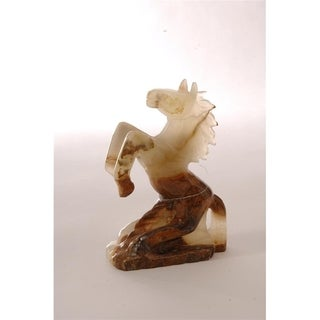 Polished Marble Horse, Decorative Figurine / Collectible, Moss Green
