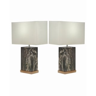 Studio 350 Set of 2, Ceramic Gray Gold Table Lamp 23 inches high
