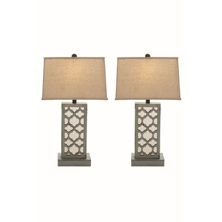 Studio 350 Set of 2, Wood Mirror Table Lamp 28 inches high