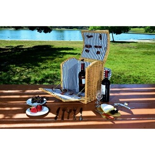 Picnic Pack Willow Wine Basket for 2