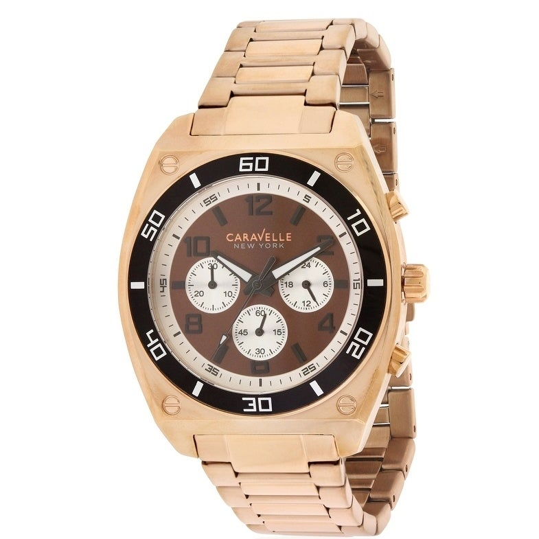 Caravelle New York Rose Gold-Tone Chronograph Mens Watch ...