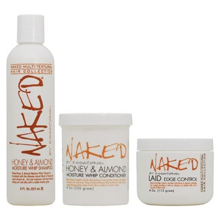 Naked Essations Honey & Almond Moisture Whip Shampoo, Conditioner + Laid Edge Control