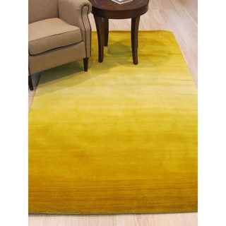 EORC Handmade Contemporary Horizon Solid Yellow Wool Rug (9'6x13'6)