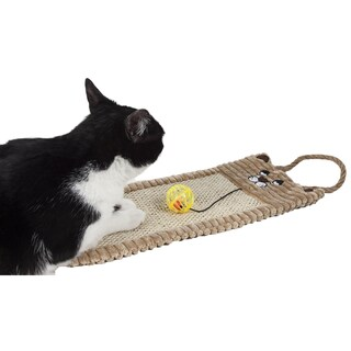Pet Life Sisal And Jute Hanging Carpet Cat Scratcher Lounge With Toy