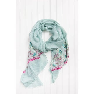 """Tickled Pink Floral Embroidered Lightweight Scarf 28 X 70"""" - Aqua"""