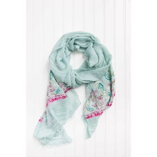 """Tickled Pink Floral Embroidered Lightweight Scarf 28 X 70"""" - Aqua https://ak1.ostkcdn.com/images/products/17354341/P23597220.jpg?impolicy=medium"""