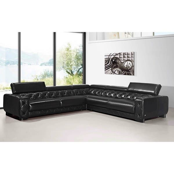 Shop Irvine Tufted Italian Black Leather L-shaped Sectional ...