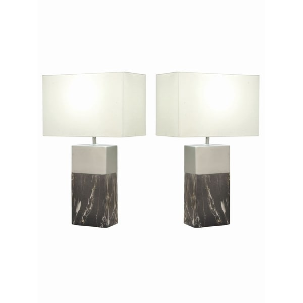 Studio 350 Set of 2, Ceramic Gray Silver Table Lamp 24 inches high