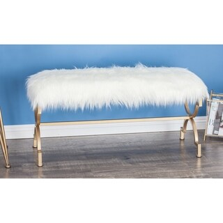 Modern 20 x 42 Inch Polished White Faux Fur Bench by Studio 350