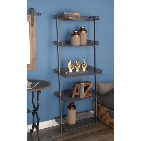 Contemporary 62 x 23 Inch Gray Iron Leaning Shelf by Studio 350