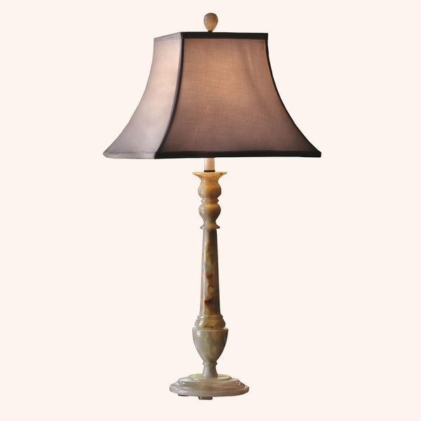 "32.5"" Tall Onyx Table Lamp ""Southern Winter"" with Linen Shade, Chartreuse"
