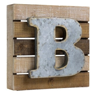 "Metal on Wood Rustic Letter Block ""B"""