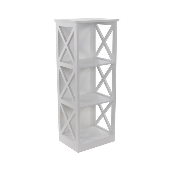 3 Tier Cube Bookcase Display Shelving Storage Unit Wood Furniture White