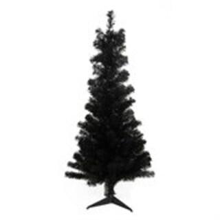 "4' x 24"" Slim Black Tinsel Artificial Christmas Tree - Unlit"