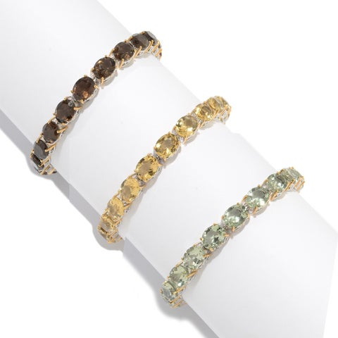 Michael Valitutti Palladium Silver Oval Gemstone Tennis Bracelet