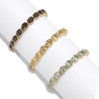 Michael Valitutti Palladium Silver Oval Gemstone Tennis Bracelet