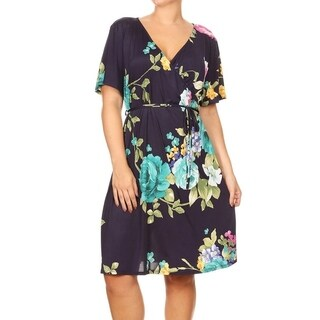 Women's Plus Size Floral Wrapped Bodice Dress