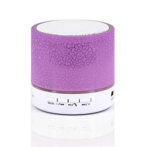LED Portable Mini Bluetooth Speaker Crack Pattern Wireless Bass Speaker Support Micro SD/TF Card / USB / FM