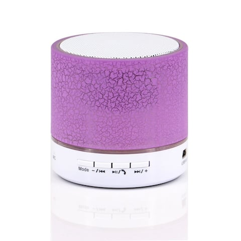 LED Portable Mini Bluetooth Speaker Crack Pattern Wireless Bass Speaker Support Micro SD/TF Card / USB / FM