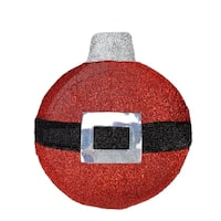 """17.25"""" LED Lighted Red and Black Tinsel Santa Belt Ornament Hanging Christmas Wall Decoration"""