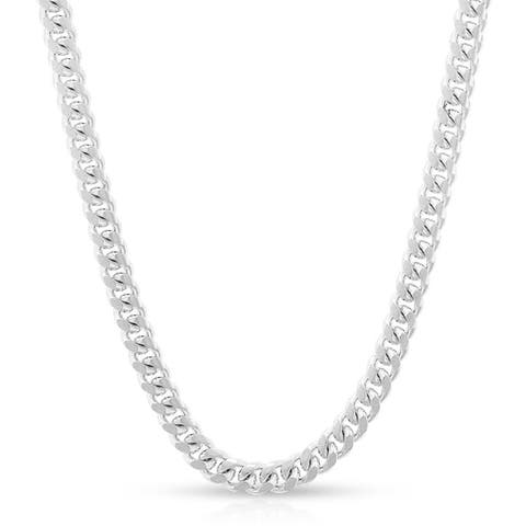 "Authentic Solid Sterling Silver 3.5mm Miami Cuban Curb Link .925 ITProLux Necklace Chains 16"" - 30"", Men & Women, Made In Italy"