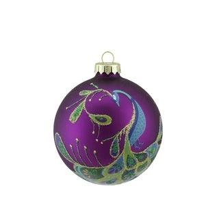 "4"" Regal Peacock Purple Glittered Glass Ball Christmas Ornament"