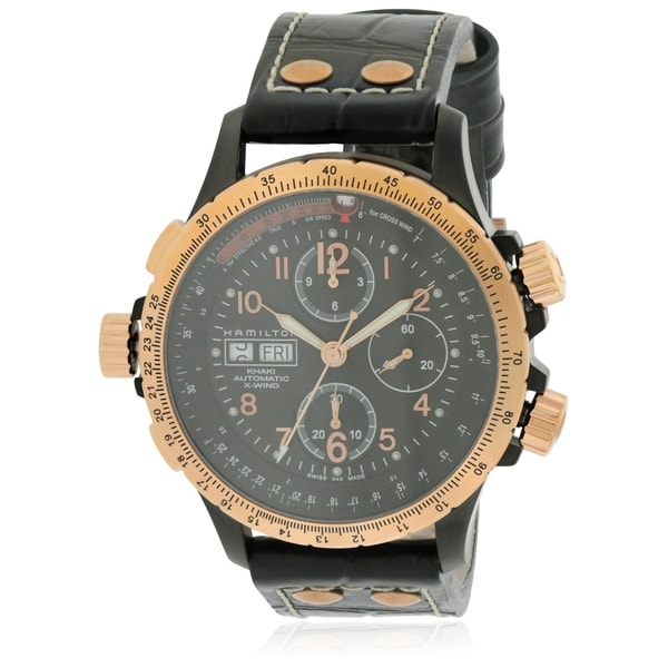 29834d6d5 Shop Hamilton Khaki X-Wind Leather Automatic Chronograph Mens Watch - Free  Shipping Today - Overstock - 17354600