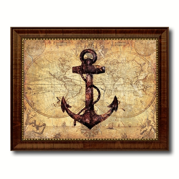 Anchor Nautical Vintage Map Canvas Print with Picture Frame Ocean ...