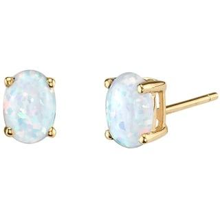 Link to 14K Oravo Yellow Gold Oval Shape Created Opal Stud Earrings Similar Items in Earrings