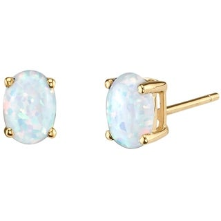 14K Oravo Yellow Gold Oval Shape Created Opal Stud Earrings - White
