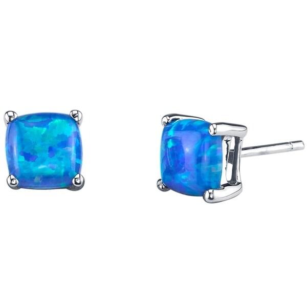 14K Oravo White Gold Cushion Cut Created Blue Opal Stud Earrings