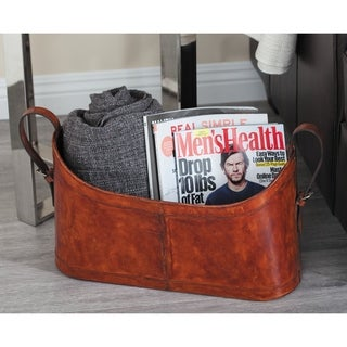Studio 350 Real Leather Magazine Holder 21 inches wide, 12 inches high