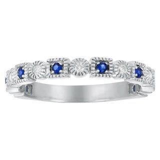 10k White Gold 1/4 carat Vintage Inspired Blue Sapphire and Diamond Band Ring By - White H-I
