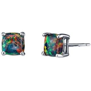 14K Oravo White Gold Cushion Cut Created Black Opal Stud Earrings