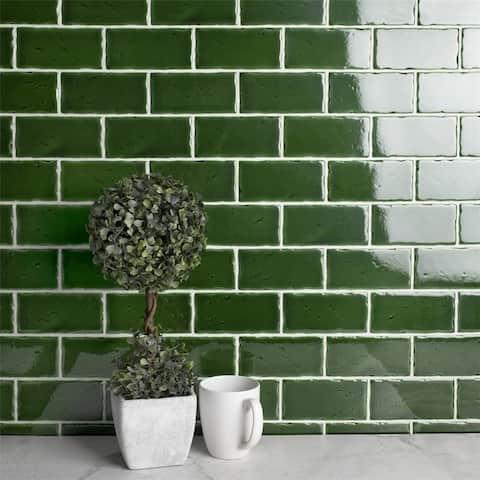 SomerTile 2.5x5.125-inch Nove Verdin Subway Ceramic Wall Tile (60 tiles/6.16 sqft.)