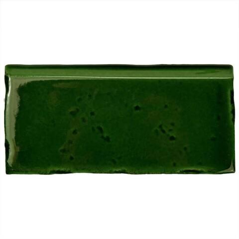 SomerTile 2.5x5.125-inch Nove Verdin Zocalo Ceramic Wall Trim Tile (6 tiles)