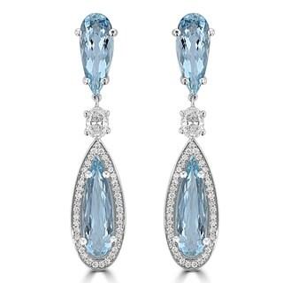 La Vita Vital 14K White Gold 6 7/8 ct TGW Aquamarine and Diamond Earrings