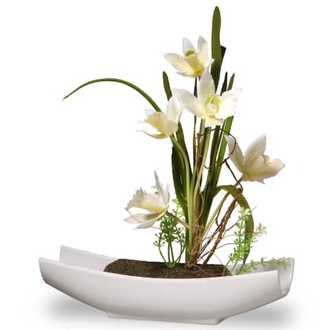 "11"" White Orchid Flowers"