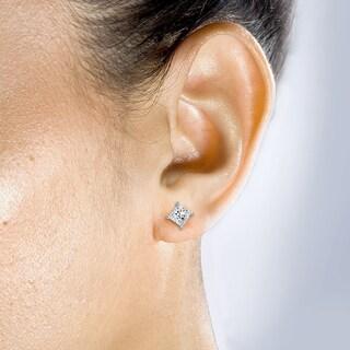 Annello by Kobelli 14k Gold 1ct TDW Princess-cut Diamond Stud Earrings