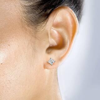 Annello By Kobelli 14k Gold 1ct Tdw Princess Cut Diamond Stud Earrings 2 Options
