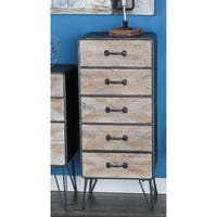 Studio 350 Metal Wood Chest Drawer 16 inches wide, 39 inches high