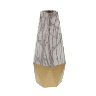 Carson Carrington Alavus Ceramic White Gold Vase